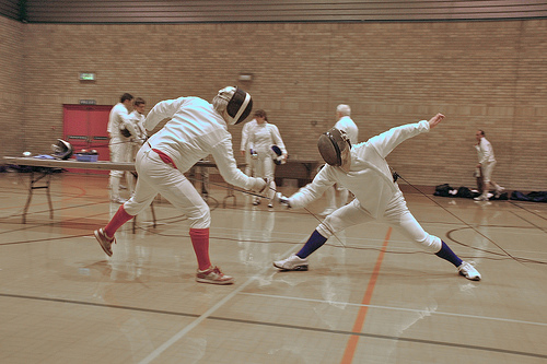 fencing in action